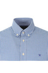 Hackett Mens Blue LS Gingham Tri Logo Shirt
