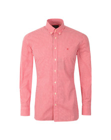 Hackett Mens Pink LS Gingham Tri Logo Shirt