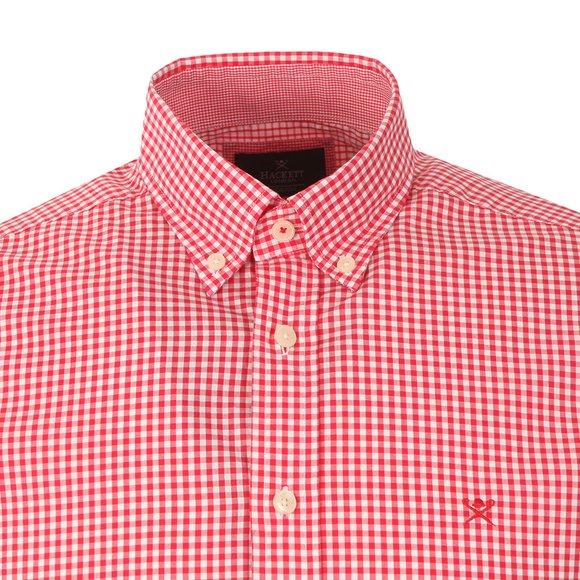 Hackett Mens Orange LS Gingham Tri Logo Shirt main image