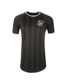 Sik Silk Mens Black Retro Stripe Curve Hem T Shirt