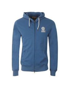Franklin & Marshall Mens Blue Embroidered Logo Hoody