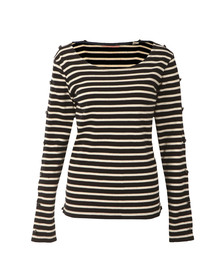 Maison Scotch Womens Blue Long Sleeve Breton T Shirt