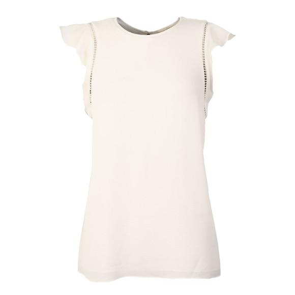 Michael Kors Womens White Flounce Sleeve Top main image