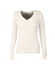 Michael Kors Womens White V Neck Mesh Sweater