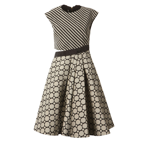 Ted Baker Womens Black Reetah Cut Out Circle Stripe Dress main image
