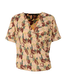 Maison Scotch Womens Multicoloured Short Wrapover Blouse