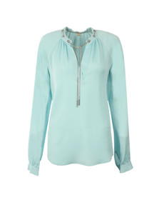 Michael Kors Womens Blue Chain Long Sleeve Flute Top