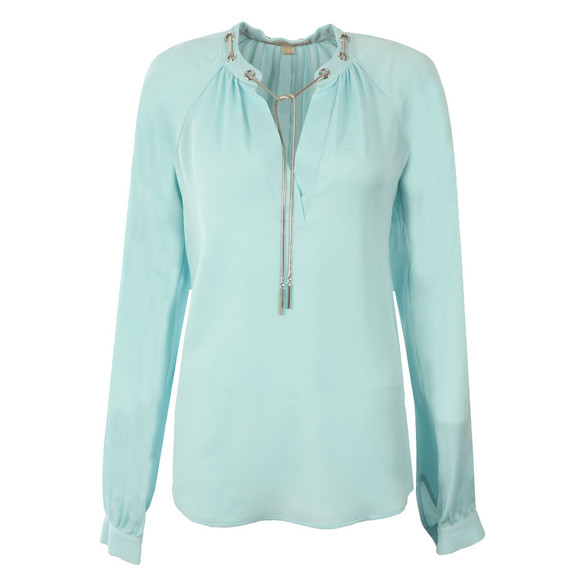 Michael Kors Womens Blue Chain Long Sleeve Flute Top main image