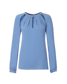 Michael Kors Womens Blue Raglan Slit Long Sleeve Top