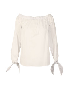 Maison Scotch Womens White Off The Shoulder Cotton Top