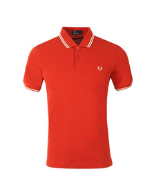 Fred Perry Mens Dull Red/white Twin Tipped Polo Shirt