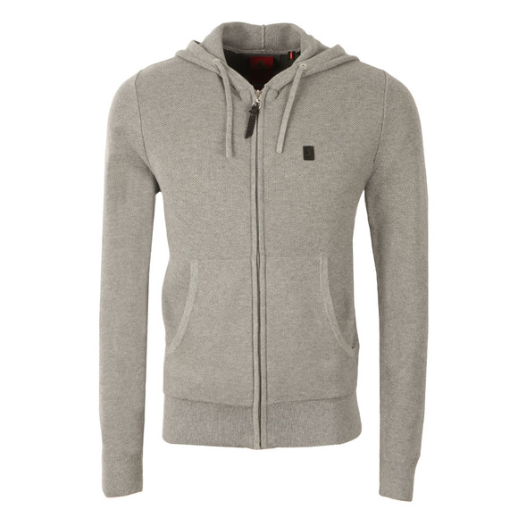 Luke Mens Grey Full Zip Hooded Sweat main image