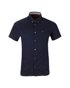 Luke Mens Blue Adam Keyte SS Baseball Collar Shirt