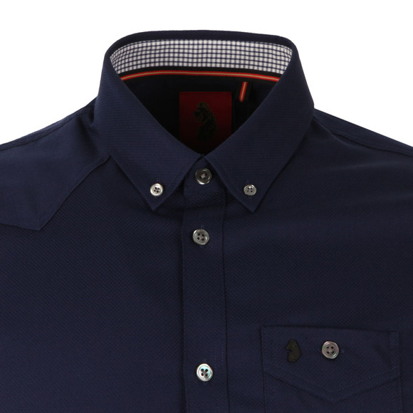 Luke Mens Blue Adam Keyte SS Baseball Collar Shirt main image