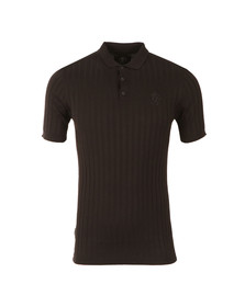 Gym king Mens Black Muscle Fit Knitted Polo Shirt