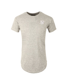 Sik Silk Mens Grey Rib Knit Curved Hem Tee
