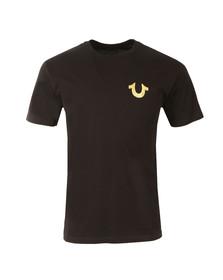 True Religion Mens Black Metallic Gold Buddha T Shirt