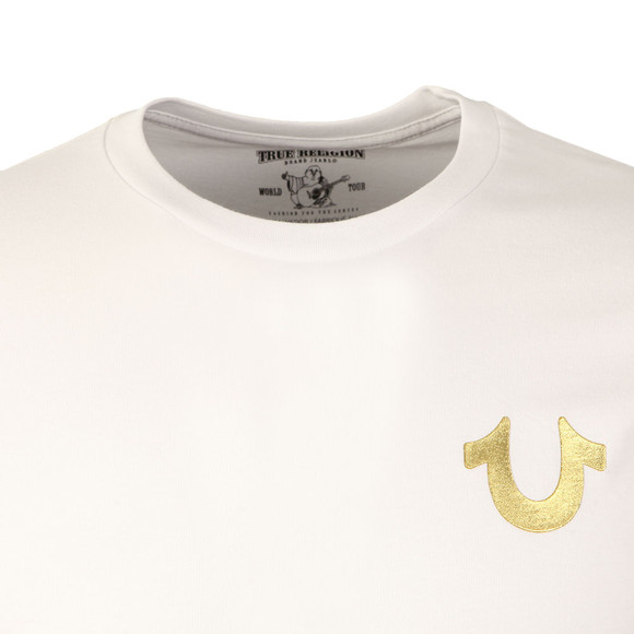 True Religion Mens White Metallic Gold Buddha T Shirt