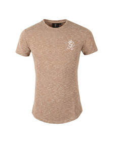 Gym king Mens Beige Long Line Marl Knit Tee
