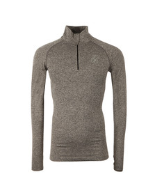 Sik Silk Mens Grey Half Zip Compression Long Sleeve Tee