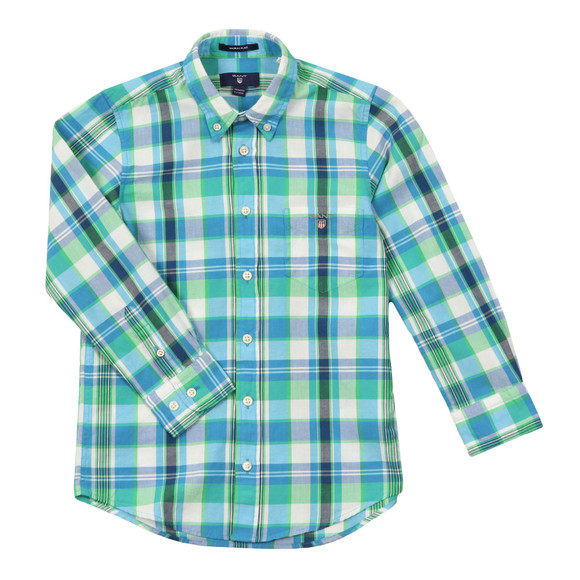 Gant Boys Blue Large Madras Check Shirt main image