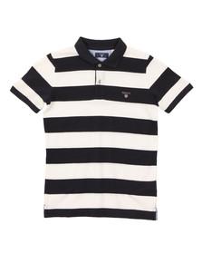 Gant Boys Blue Barstripe Pique Rugger Polo Shirt