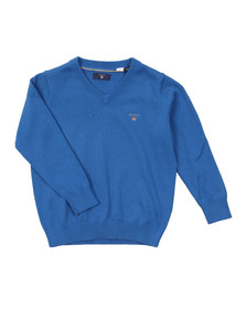 Gant Boys Blue Solid Cotton V Neck Jumper