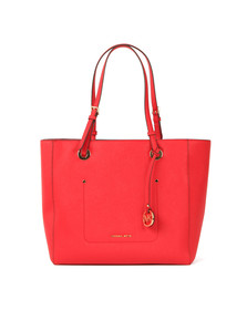 Michael Kors Womens Red Walsh Large Top Zip Tote