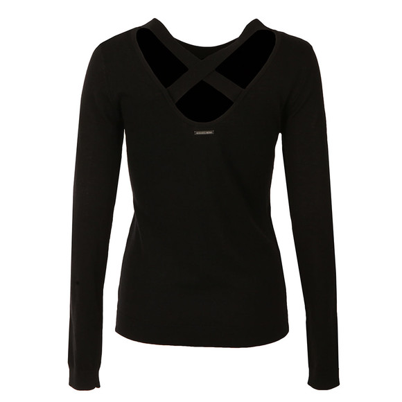 Michael Kors Womens Black Cross Scoop Back Top main image