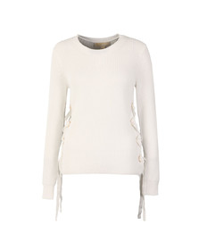 Michael Kors Womens White Side Lace Up Crew Jumper