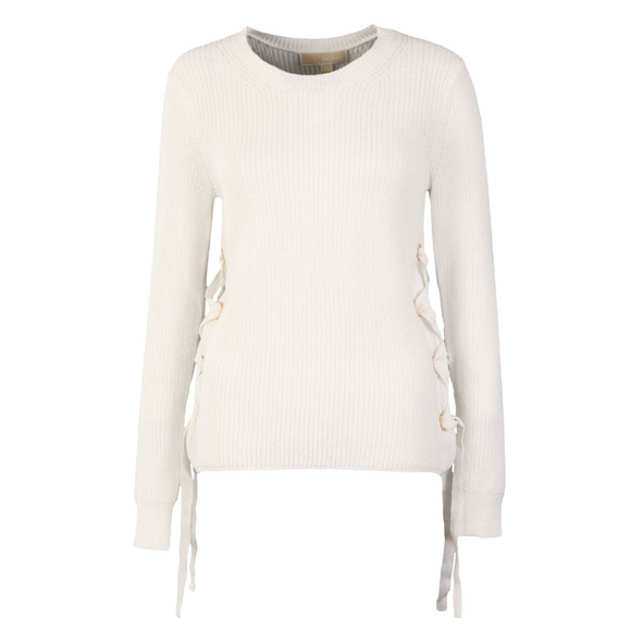 Michael Kors Womens White Side Lace Up Crew Jumper main image