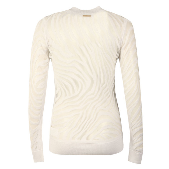Michael Kors Womens White Zebra Crew Top