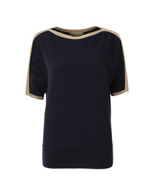 Michael Kors Womens Blue Metallic Trim Top