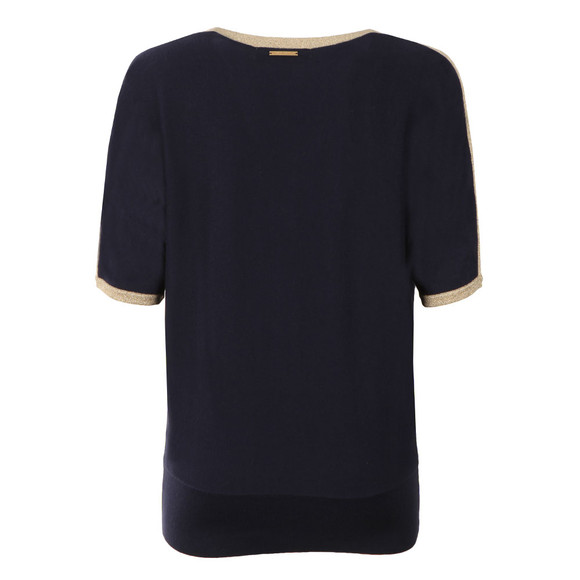 Michael Kors Womens Blue Metallic Trim Top main image