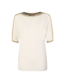 Michael Kors Womens White Metallic Trim Top