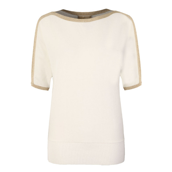 Michael Kors Womens White Metallic Trim Top main image