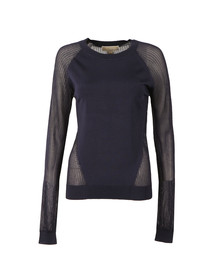 Michael Kors Womens Blue CBO Stitch Raglan Crew Jumper
