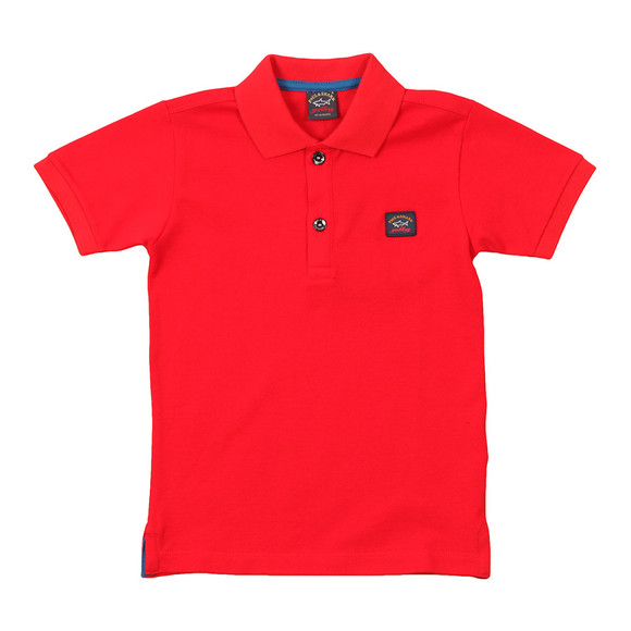 Paul & Shark Cadets Boys Red Plain Pique Polo Shirt main image