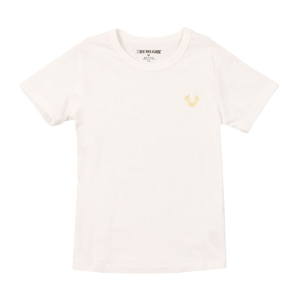 True Religion Boys White Gold Buddha Logo Tee main image