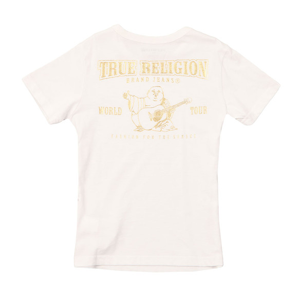 True Religion Boys White Gold Buddha Logo Tee