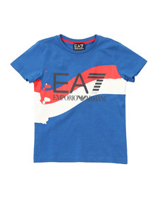 EA7 Emporio Armani Boys Blue Side Stripe T Shirt