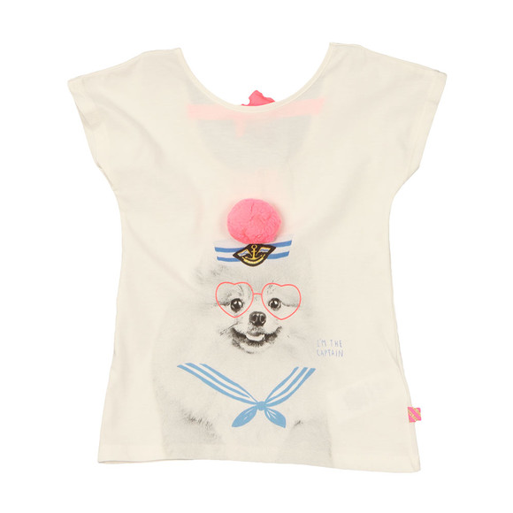 Billieblush Girls Off-white Pom Pom T Shirt main image