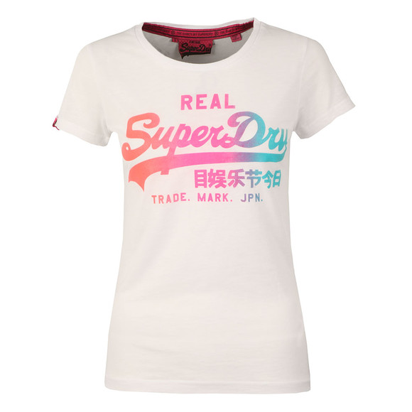 Superdry Womens White Vintage Logo Burnout Tee main image