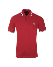 Fred Perry M12 Mens Red S/S Tipped Polo