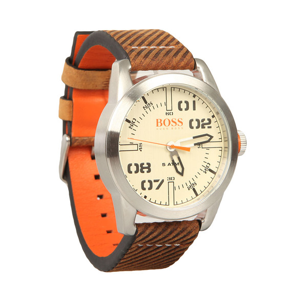 BOSS Mens Brown Casual Paris Leather Strap Watch