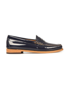 G H Bass & Co Womens Blue Wheel Patent Penny Loafer