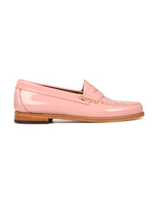 G H Bass & Co Womens Pink Wheel Patent Penny Loafer