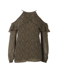 Michael Kors Womens Green Cole Cold Shoulder Top