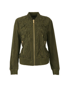 Michael Kors Womens Green Light Weight Embroidered Bomber Jacket