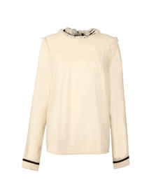 Maison Scotch Womens Off-White Sheer Cotton/Viscose Top